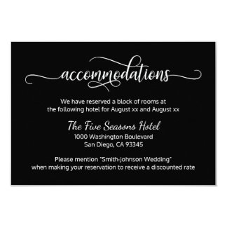 Black White Script Wedding - Accommodations Card