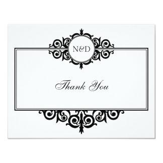 Black white scroll monogram thank you note flat 11 cm x 14 cm invitation card