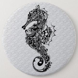 Black & White Seahorse-Tattoo Style 6 Cm Round Badge