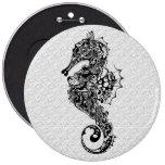 Black & White Seahorse-Tattoo Style Button