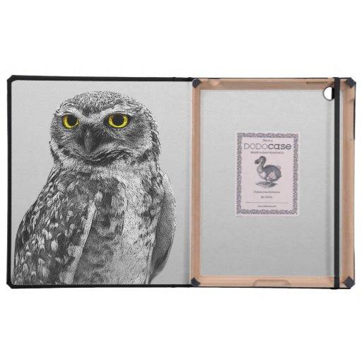 Black & White Serious Big Eyed Owl iPad Case