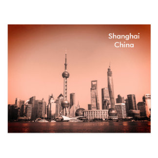 Black & White Shanghai Vintage Travel Tourism Ad Postcard