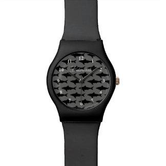 Black & white shark watch for men with custom name