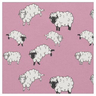 Black/White sheep/little lambs on pink 2 Fabric