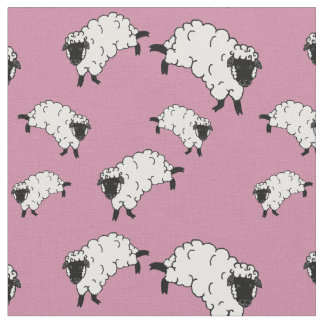 black/white sheep/little lambs on pink fabric