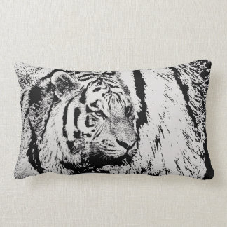 Black white Siberian Tiger animal on tiger pattern Lumbar Cushion