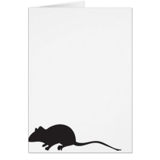 Black & white silhouette mouse print greeting card