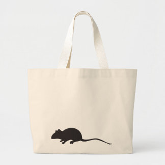 Black & white silhouette mouse print jumbo tote bag