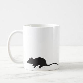 Black & white silhouette mouse print mug