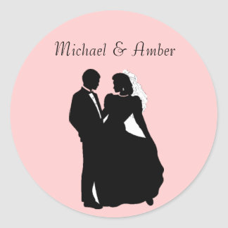 Black & White Silhoutte Wedding Couple Stickers