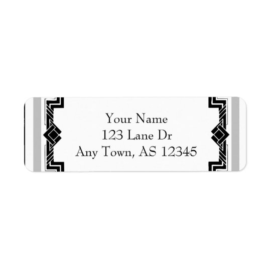 Black White Silver Art Deco Frame Return Address Return Address Label