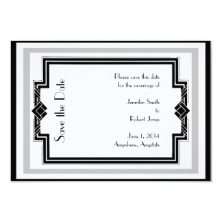 Black White Silver Art Deco Frame Save the Date Card