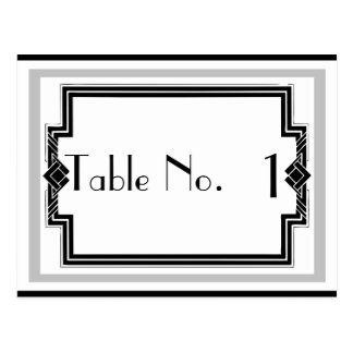 Black White Silver Art Deco Frame Table Number Postcard