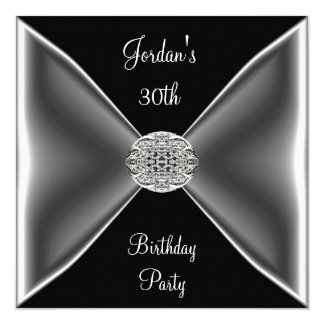 Black & White Silver Jewel  30th Birthday Party Card