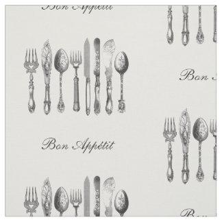 Black White Silverware Bon Appetit Custom Fabric