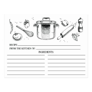 Black White Sketched Kitchen Tools Recipe Cards Postcard