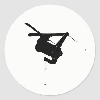 Black & White Skier Classic Round Sticker
