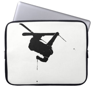 Black & White Skier Laptop Sleeve