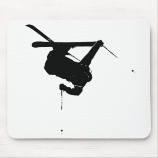 Black & White Skier Mouse Pad