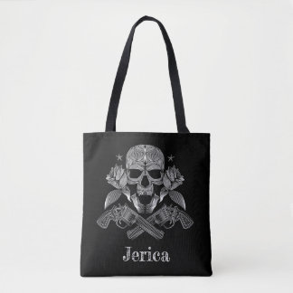 Black & White Skull and Guns Tote Bag
