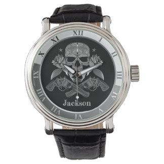 Black & White Skull and Guns Watch
