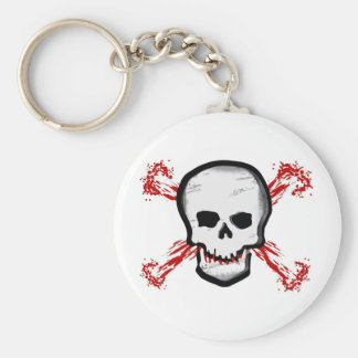 Black/White Skull & Bloody Cross Bones Basic Round Button Key Ring