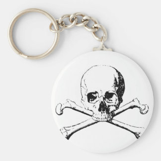 Black & White Skull & the Bones Basic Round Button Key Ring