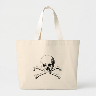 Black & White Skull & the Bones Large Tote Bag