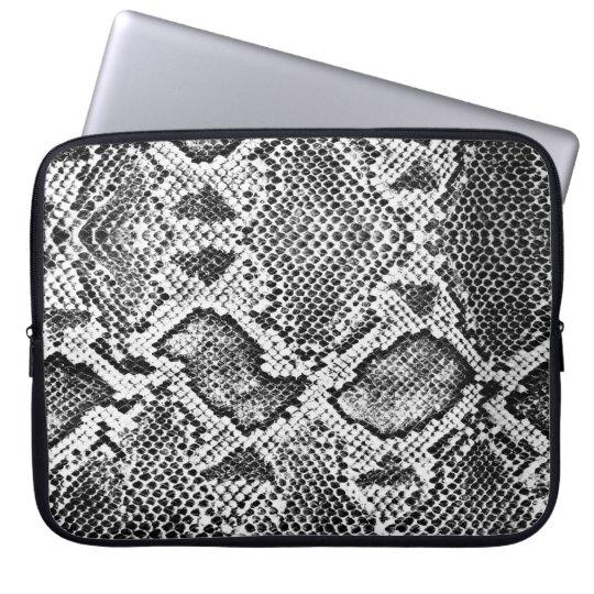 Black & White Snakeskin Pattern Laptop Sleeve