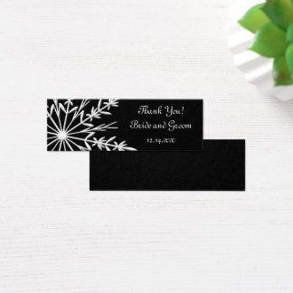 Black White Snowflake Winter Wedding Favor Tags