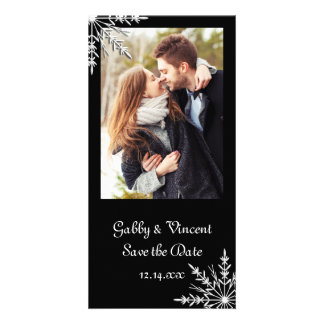 Black White Snowflake Winter Wedding Save the Date Customised Photo Card