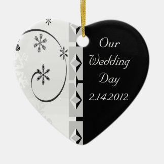 Black & White Snowflake Wonderland Ceramic Heart Decoration