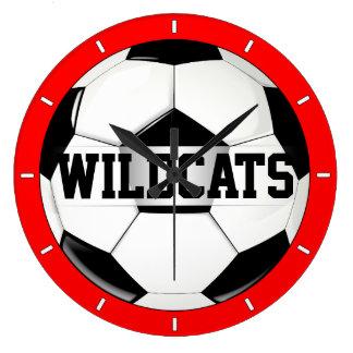 Black & White Soccer Ball Custom Team Text Clock