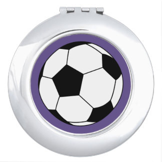 Black/White Soccer Football Ball on Ultra Violet Compact Mirrors