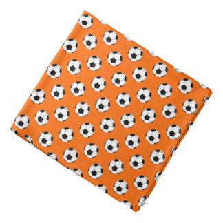 Black/White Soccer Futbol Balls, Orange Head Kerchiefs