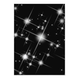 BLACK WHITE SPARKLING STARS UNIVERSE GALAXY SPACE 13 CM X 18 CM INVITATION CARD