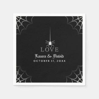 Black & White Spider Web LOVE Halloween Wedding Disposable Napkin