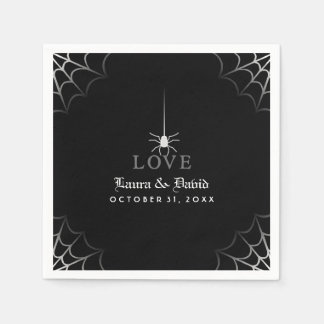 Black & White Spider Web LOVE Halloween Wedding Paper Napkin