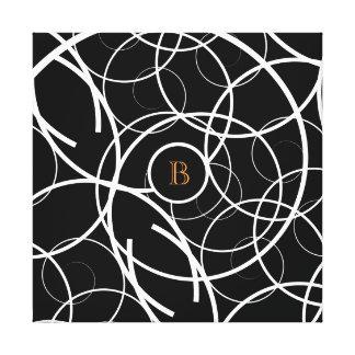 Black & White Spiral (orange monogram) | Canvas