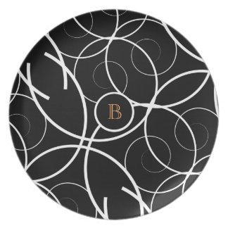 Black & White Spiral (orange monogram) | Plate