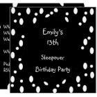 Black White Spots 13th Birthday Sleepover Card