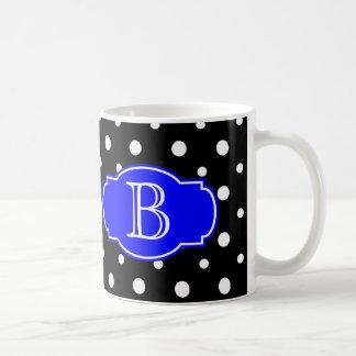 Black & White Spots w/ Blue, add your initial Coffee Mug