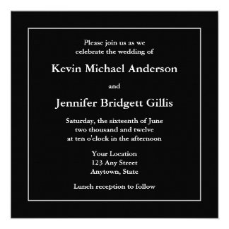 Black White Square Invitations or Announcements Personalized Announcements
