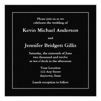 Black White Square Invitations or Announcements Personalized Announcements