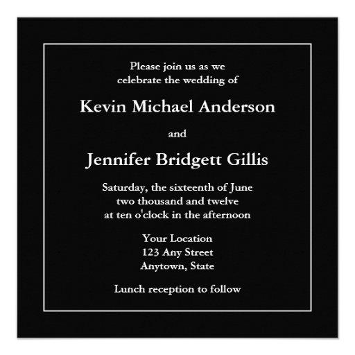Black & White Square Invitations or Announcements Personalized Announcements