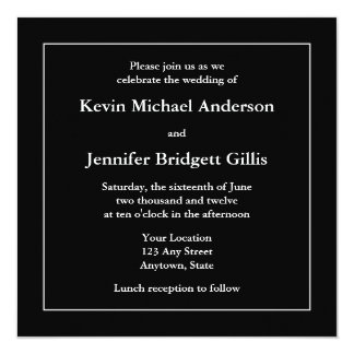 Black & White Square Invitations or Announcements Personalized Announcements