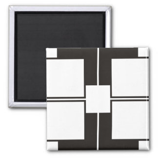 black white square magnet