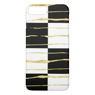 Black & White Square & Squiggly Gold Stripes 2a iPhone 8 Plus/7 Plus Case