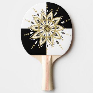 Black & white squares gold & modern gold mandala ping pong paddle