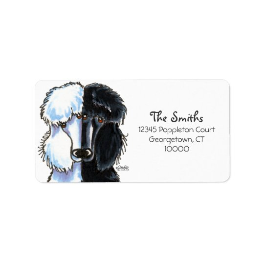 Black White Standard Poodles Large Label